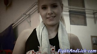 Pussylicking babe wrestling in a boxing ring