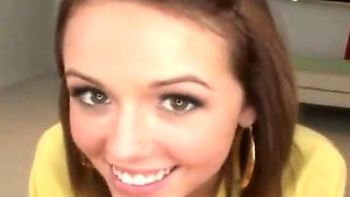 Beautiful cute teen girl proud she can swallow