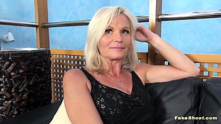 Casting Porn Scene With a Breasty Blonde Cougar