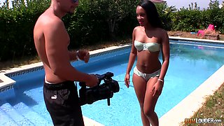 Ebony teen babe Noemilk pussy pounded and gets cum on her pretty face