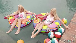 Raunchy lesbian outdoors session with a couple of horny blondes