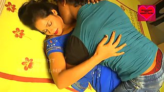 Sexy and beautiful bhabhi in blue saree having hot romance with devar