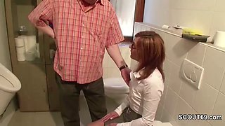 German Redhead MILF Seduce to Fuck At Work by Stranger