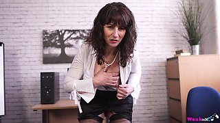 Middle aged secretary Toni Lace  masturbates her pussy in the office