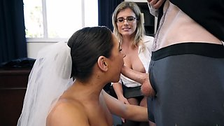 Hardcore sex in threesome on her wedding day