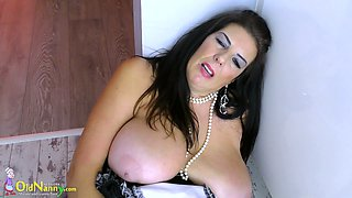Amazing chunky old maid Lulu is happy to play with her mature pussy a lot