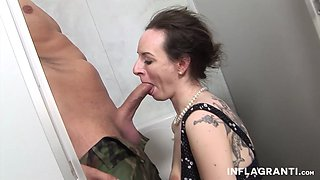 A slender tramp is getting screwed in the public toilet by a stud with a long pecker