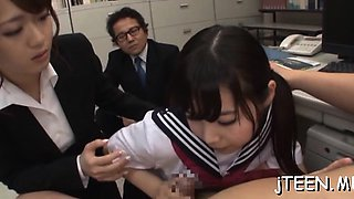 Cute japanese schoolgirl gets fucked in a lot of positions