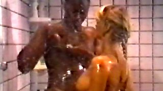 Horny and hot blonde babe blows BBC in the shower room