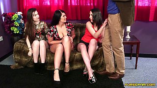 Four sluts play with one mans dick but tease him