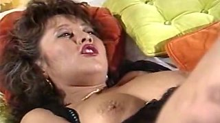 Hot and insatiable curvy brunette milf banged in missionary position