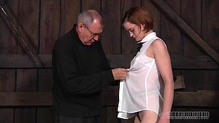 Woman with glasses is up for all sorts of kinky fun with her master
