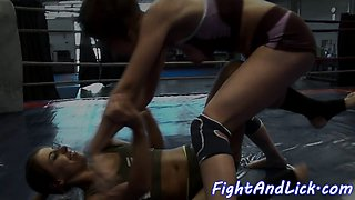 Athletic wrestling lezzies pussylicking