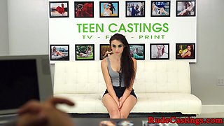 Smalltits teen assfucked at brutal casting