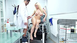 Horny doctor talks cute Blondie Fesser into fucking with him
