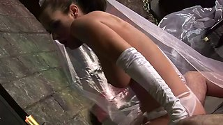 bride crying gets hit hard by a horny stud