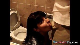 Blowjob in a party Bathroom