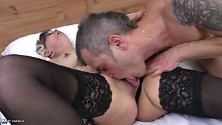 Mature with glasses doggy and facial