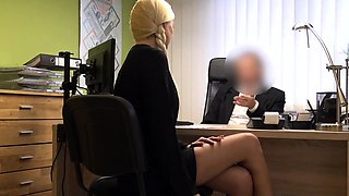 LOAN4K. Blonde angel pays with sex for flexible credit...
