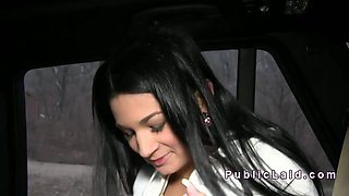 Busty European amateur bangs in the car in public pov