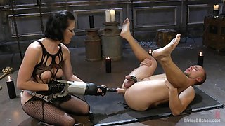 chastity slave gets his ass torn up