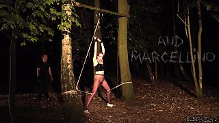 Outdoor teasing and torturing with cute redhead slave