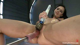 hot brunette makes you cum with a fucking machine clip