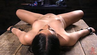 Latina with heavy makeup Rose Darling gagged, tied up and abused