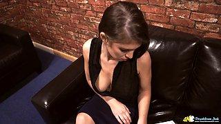 British floozy Katie Louise is flashing her big natural boobies