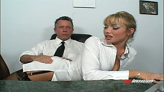 Secretary is willing to suck and fuck her boss to keep her job