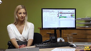LOAN4K. Blonde lassie gives herself to agent in office in...