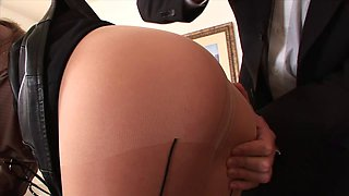 Kinzie Kenner lets a guy tear her pantyhose and fuck her pussy and ass