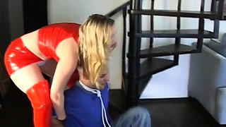 Robust angel shows a guy what female domination means