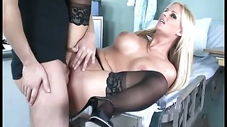 Busty babe sex in black stockings and high heels