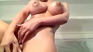 Busty brunette babe with big boobs toying her pussy and seducing on webcam