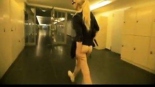 Blonde Clea anal in public toilet