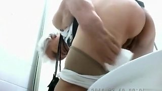 Charming granny in pantyhose pisses and wipes clean