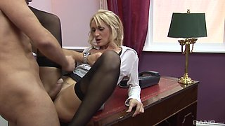 Horny blonde needs to moan while he bangs her on the table