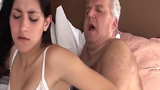 Older sexy dad fucks younger wife