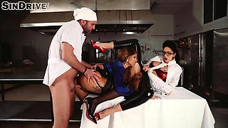 Nasty cook fucking two slutty babes who are quite dick-famished