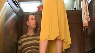 Horny milf gives quickie handjob in The Kitchen