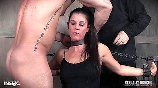 Long haired mature slave slut India Summer punished and abused