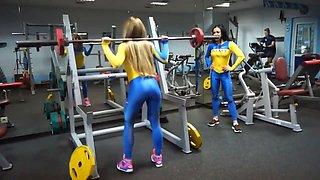 Gym girls in tight unitards
