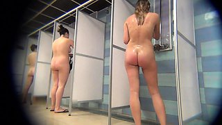 Desirable amateur girls taking a shower on hidden cam
