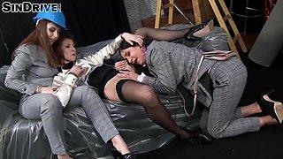Classy fake tits lesbian Rachel hairy pussy licked