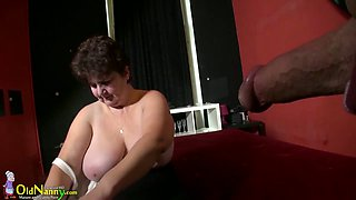 Giant breasted chubby oldie Hana rides firm cock on top greedily